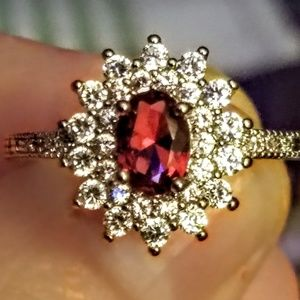 925 simulated ruby and cz ring